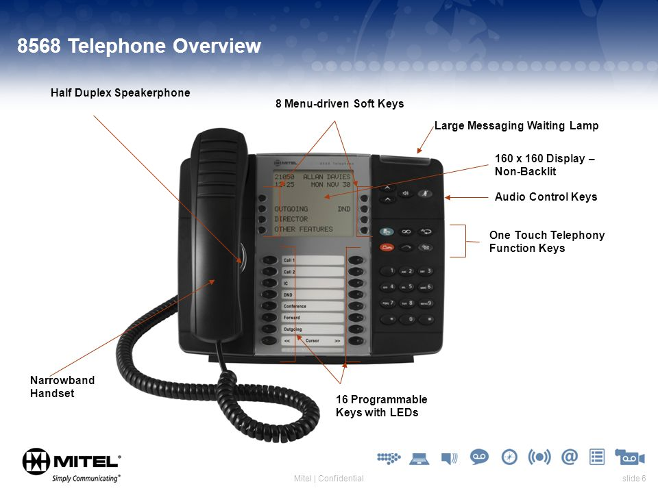 slide 6Mitel | Confidential 8568 Telephone Overview 16 Programmable Keys with LEDs 8 Menu-driven Soft Keys Half Duplex Speakerphone 160 x 160 Display – Non-Backlit Narrowband Handset Audio Control Keys One Touch Telephony Function Keys Large Messaging Waiting Lamp