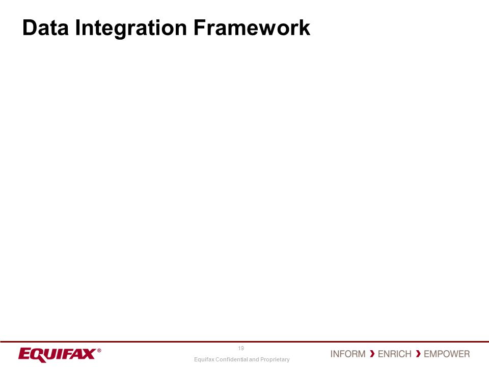 Equifax Confidential and Proprietary Data Integration Framework 19