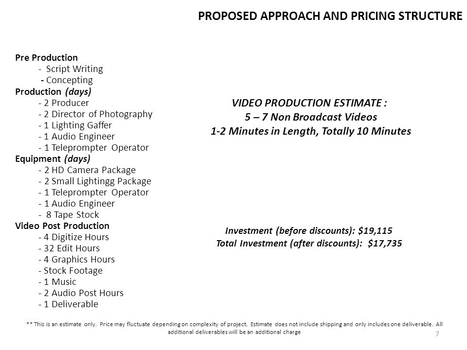PROPOSED APPROACH AND PRICING STRUCTURE Pre Production - Script Writing - Concepting Production (days) - 2 Producer - 2 Director of Photography - 1 Li
