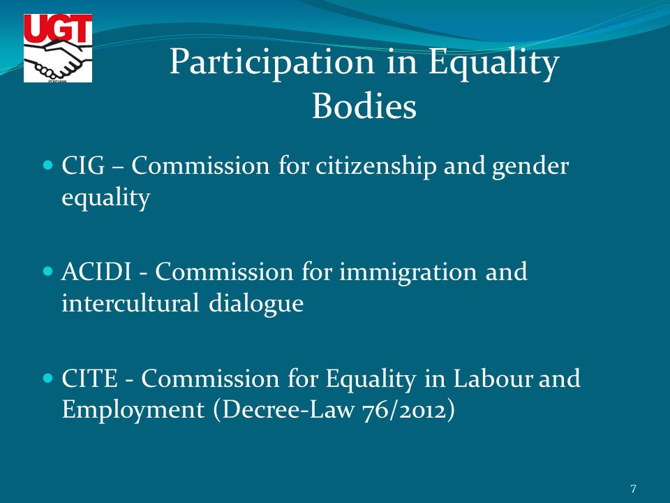 CIG – Commission for citizenship and gender equality ACIDI - Commission for immigration and intercultural dialogue CITE - Commission for Equality in Labour and Employment (Decree-Law 76/2012) Participation in Equality Bodies 7