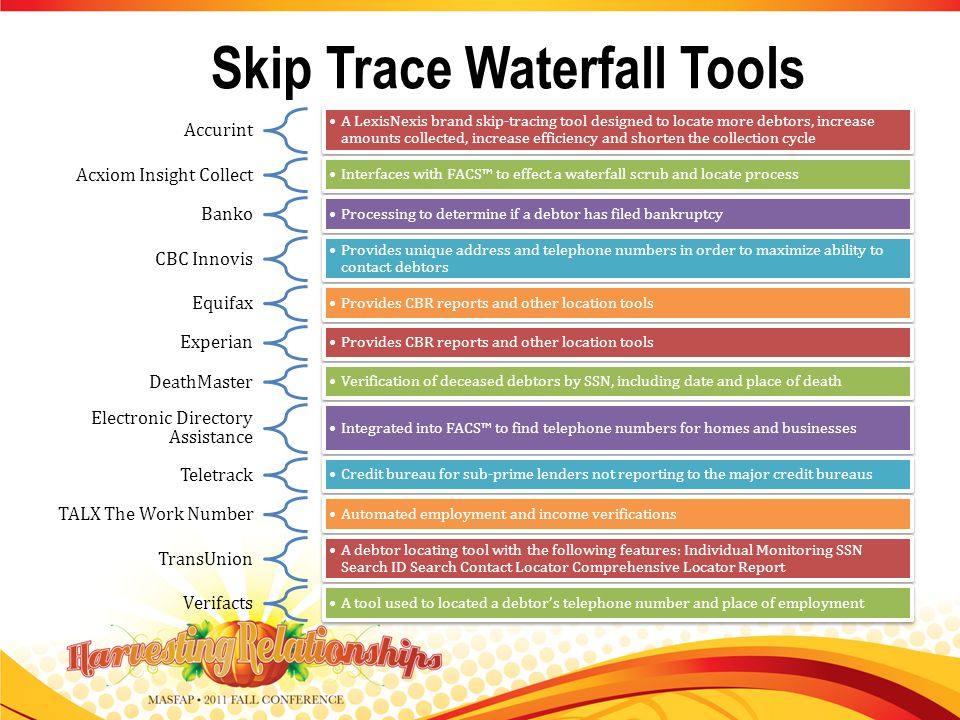 Skip Trace Waterfall Tools Accurint A LexisNexis brand skip-tracing tool designed to locate more debtors, increase amounts collected, increase efficiency and shorten the collection cycle Acxiom Insight Collect Interfaces with FACS to effect a waterfall scrub and locate process Banko Processing to determine if a debtor has filed bankruptcy CBC Innovis Provides unique address and telephone numbers in order to maximize ability to contact debtors Equifax Provides CBR reports and other location tools Experian Provides CBR reports and other location tools DeathMaster Verification of deceased debtors by SSN, including date and place of death Electronic Directory Assistance Integrated into FACS to find telephone numbers for homes and businesses Teletrack Credit bureau for sub-prime lenders not reporting to the major credit bureaus TALX The Work Number Automated employment and income verifications TransUnion A debtor locating tool with the following features: Individual Monitoring SSN Search ID Search Contact Locator Comprehensive Locator Report Verifacts A tool used to located a debtors telephone number and place of employment