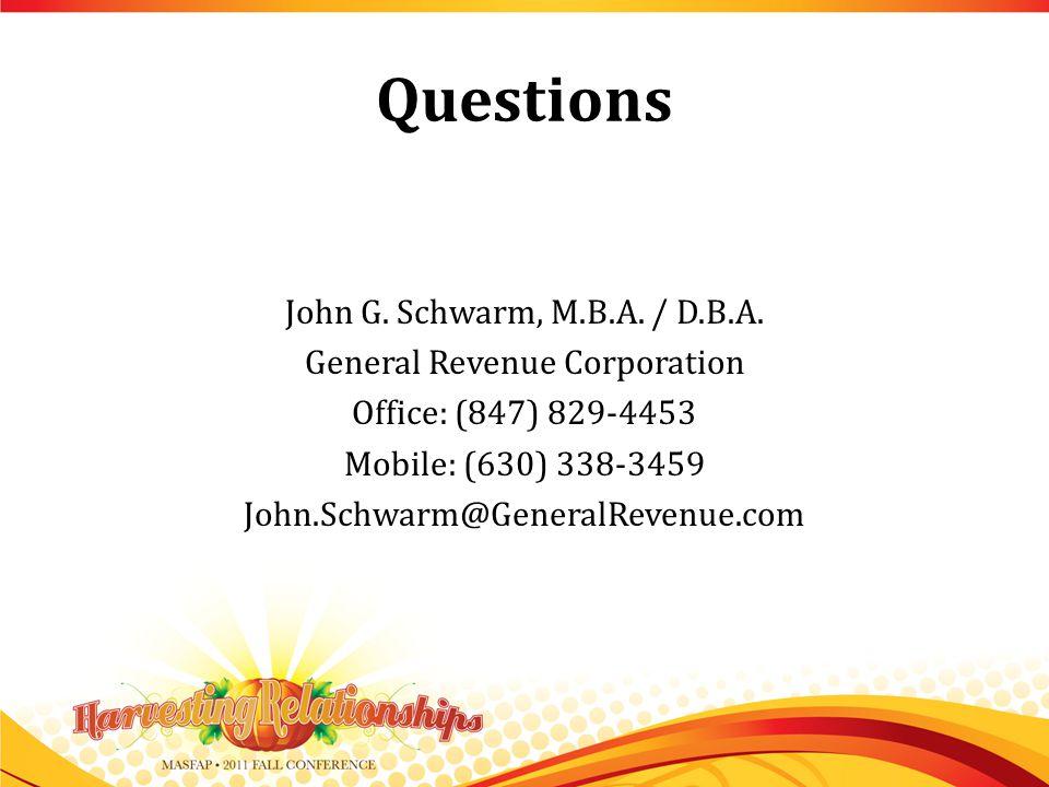 Questions John G. Schwarm, M.B.A. / D.B.A.
