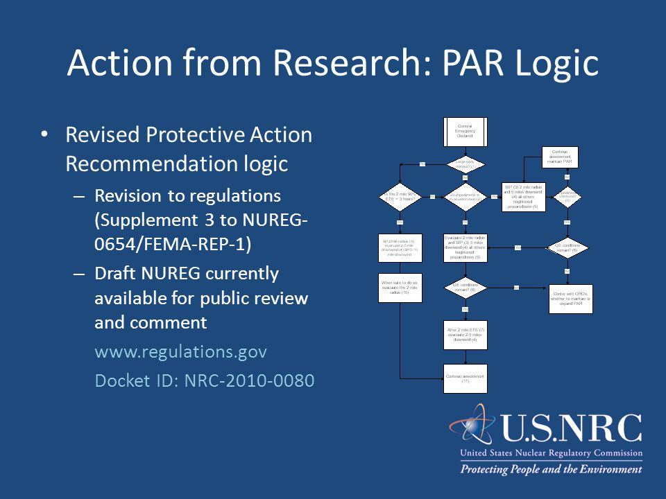 Action from Research: PAR Logic Revised Protective Action Recommendation logic – Revision to regulations (Supplement 3 to NUREG- 0654/FEMA-REP-1) – Dr