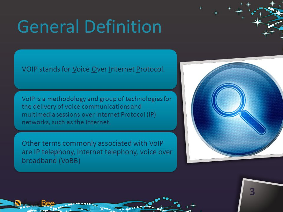 General Definition 3 VOIP stands for Voice Over Internet Protocol. VoIP is a methodology and group of technologies for the delivery of voice communica
