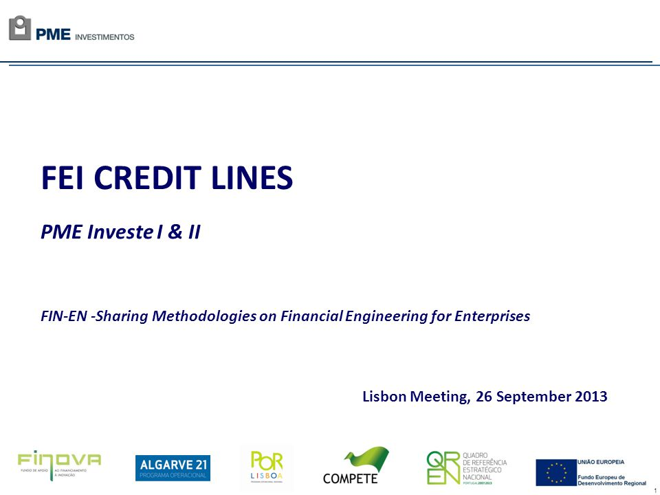 1 FEI CREDIT LINES PME Investe I & II FIN-EN -Sharing Methodologies on Financial Engineering for Enterprises Lisbon Meeting, 26 September 2013