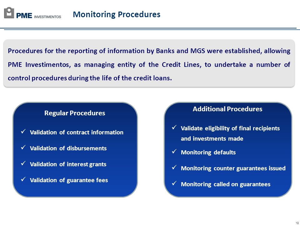 18 Regular Procedures Validation of contract information Validation of disbursements Validation of interest grants Validation of guarantee fees Monitoring Procedures Procedures for the reporting of information by Banks and MGS were established, allowing PME Investimentos, as managing entity of the Credit Lines, to undertake a number of control procedures during the life of the credit loans.
