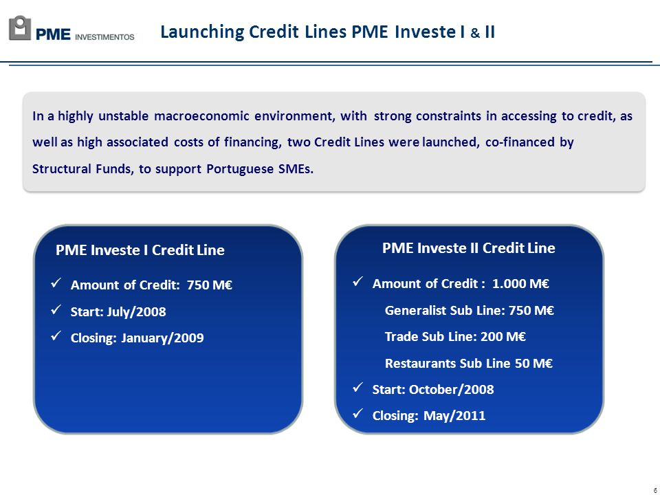 6 Launching Credit Lines PME Investe I & II In a highly unstable macroeconomic environment, with strong constraints in accessing to credit, as well as high associated costs of financing, two Credit Lines were launched, co-financed by Structural Funds, to support Portuguese SMEs.