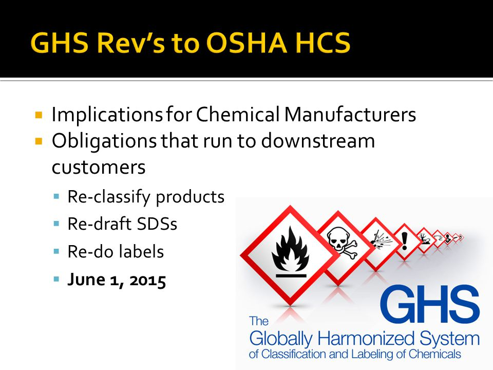 Implications for Chemical Manufacturers Obligations that run to downstream customers Re-classify products Re-draft SDSs Re-do labels June 1, 2015