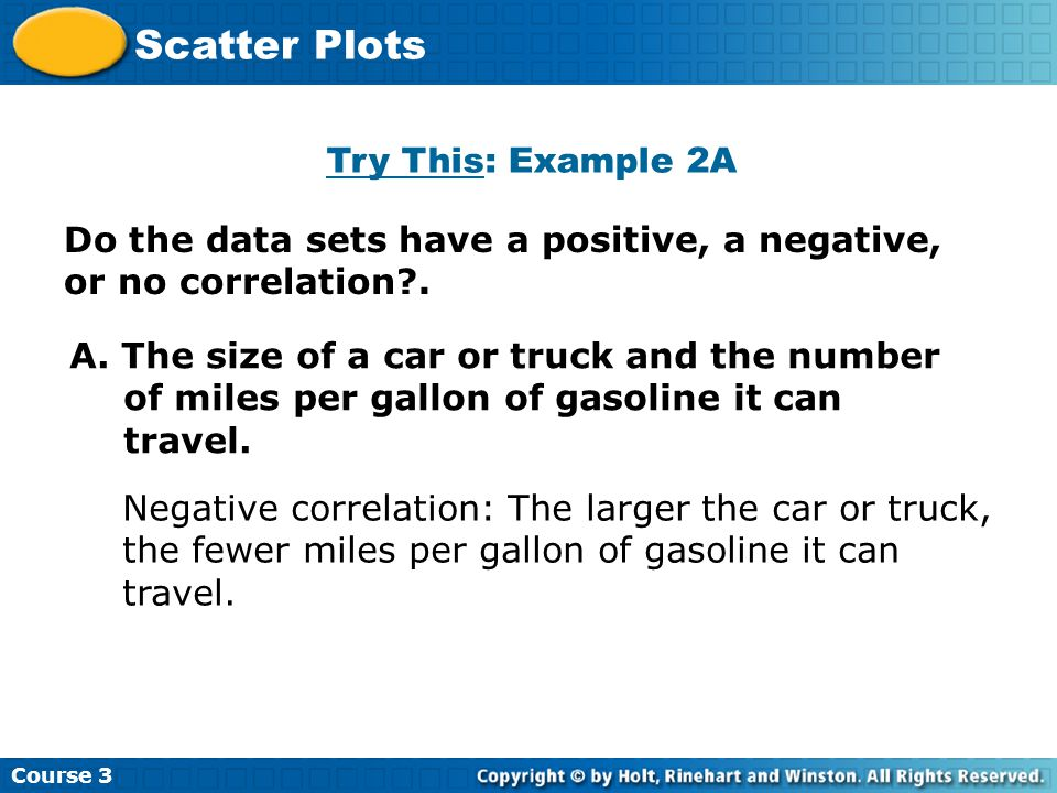 Try This: Example 2A Course 3 Scatter Plots A.