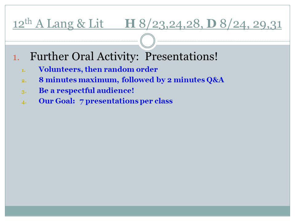 12 th A Lang & Lit H 8/23,24,28, D 8/24, 29,31 1. Further Oral Activity: Presentations.