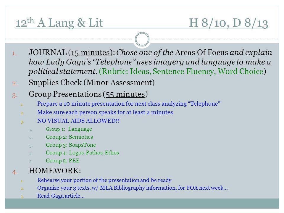 12 th A Lang & Lit H 8/10, D 8/13 1.