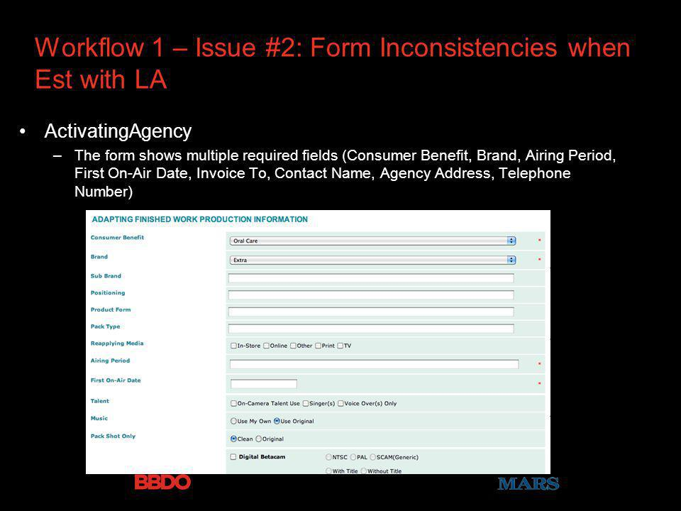 Workflow 1 – Issue #2: Form Inconsistencies when Est with LA ActivatingAgency –The form shows multiple required fields (Consumer Benefit, Brand, Airing Period, First On-Air Date, Invoice To, Contact Name, Agency Address, Telephone Number)
