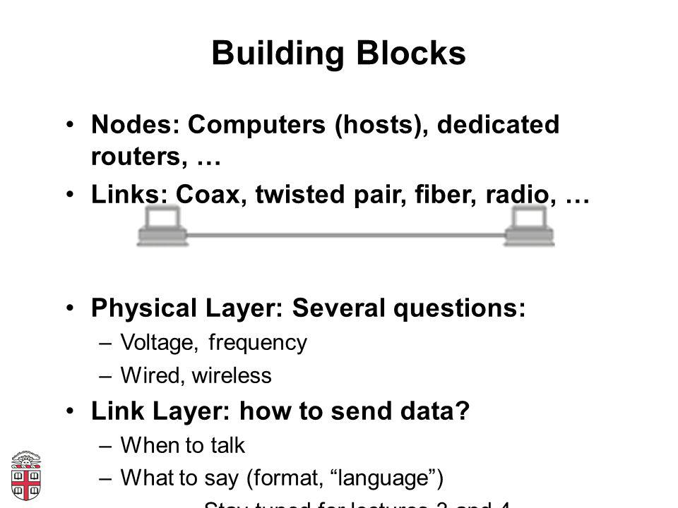 Building Blocks Nodes: Computers (hosts), dedicated routers, … Links: Coax, twisted pair, fiber, radio, … Physical Layer: Several questions: –Voltage,