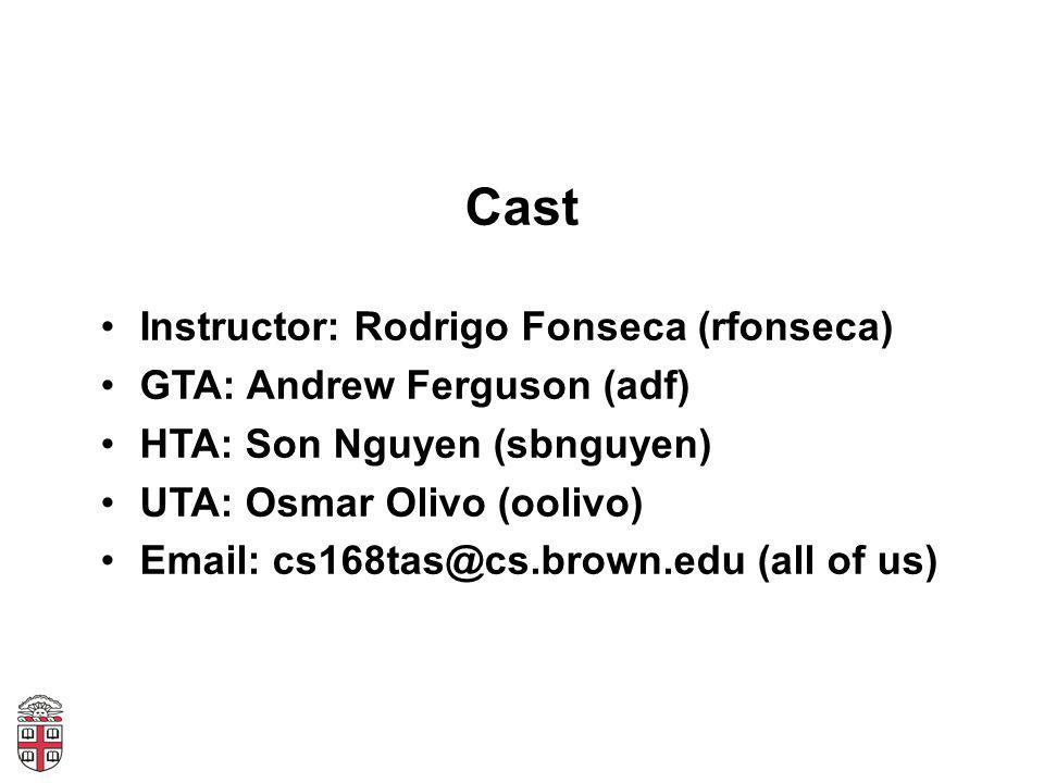 Cast Instructor: Rodrigo Fonseca (rfonseca) GTA: Andrew Ferguson (adf) HTA: Son Nguyen (sbnguyen) UTA: Osmar Olivo (oolivo) Email: cs168tas@cs.brown.edu (all of us)