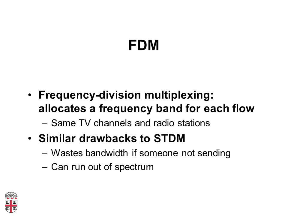FDM Frequency-division multiplexing: allocates a frequency band for each flow –Same TV channels and radio stations Similar drawbacks to STDM –Wastes b