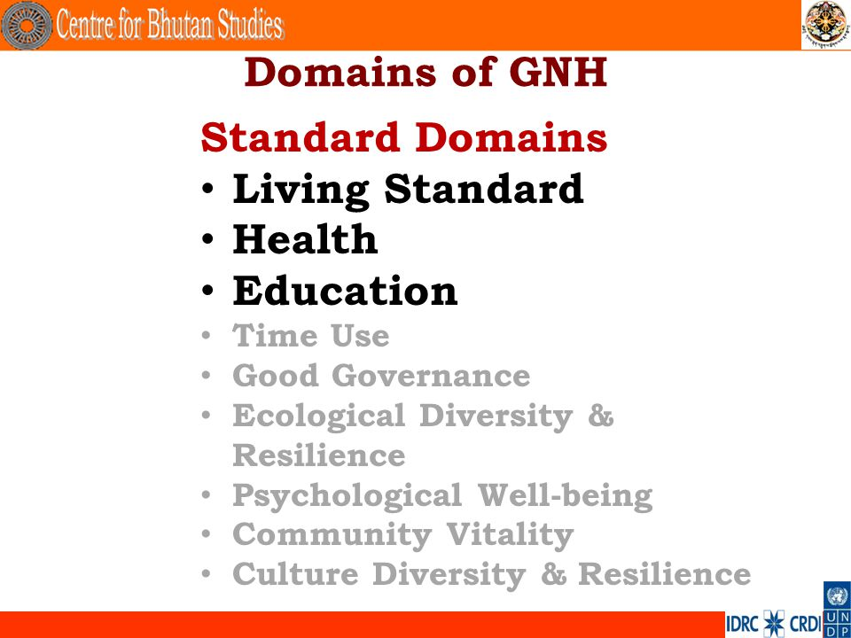 Domains of GNH Standard Domains Living Standard Health Education Time Use Good Governance Ecological Diversity & Resilience Psychological Well-being C