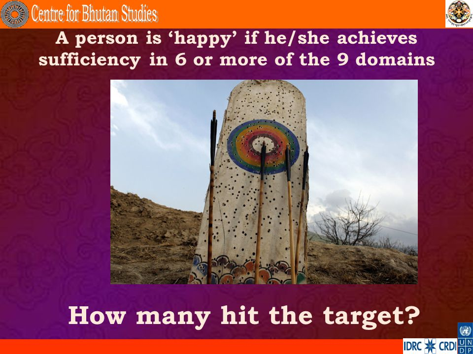 A person is happy if he/she achieves sufficiency in 6 or more of the 9 domains How many hit the target?.