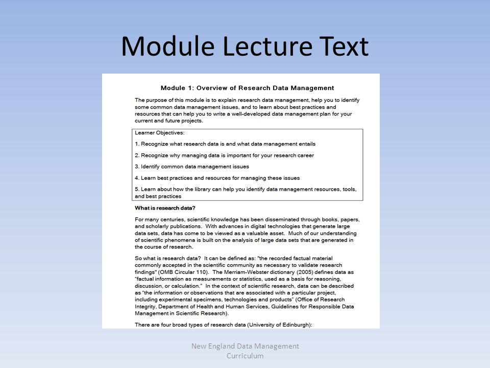 Module Lecture Text New England Data Management Curriculum