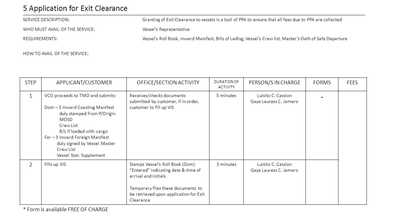 5 Application for Exit Clearance SERVICE DESCRIPTION:Granting of Exit Clearance to vessels is a tool of PPA to ensure that all fees due to PPA are col
