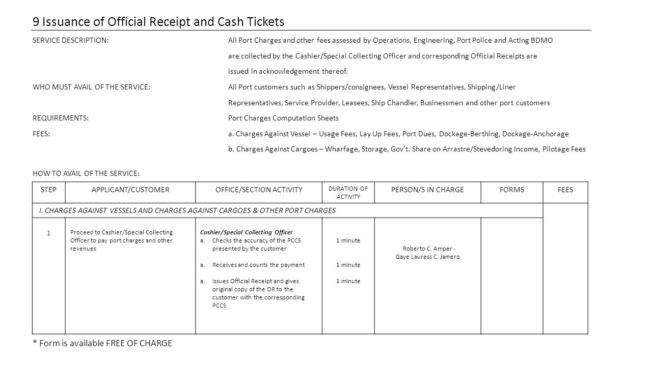 9 Issuance of Official Receipt and Cash Tickets SERVICE DESCRIPTION:All Port Charges and other fees assessed by Operations, Engineering, Port Police and Acting BDMO are collected by the Cashier/Special Collecting Officer and corresponding Official Receipts are issued in acknowledgement thereof.
