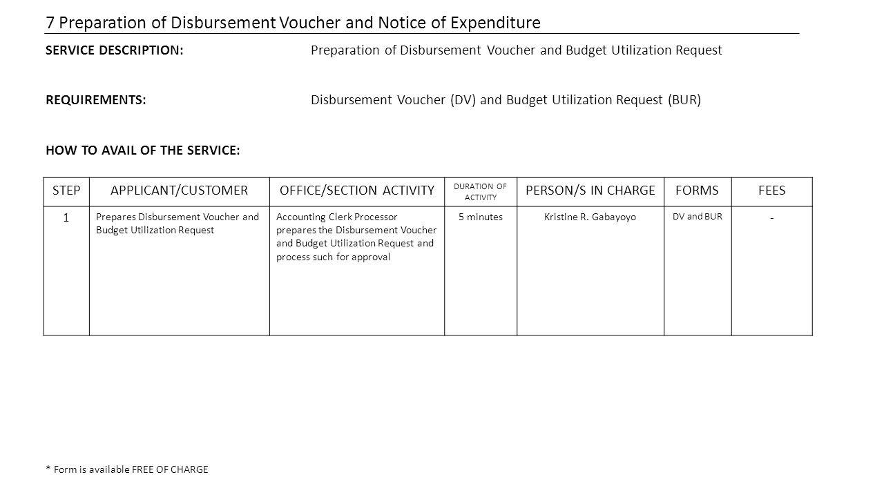 7 Preparation of Disbursement Voucher and Notice of Expenditure SERVICE DESCRIPTION:Preparation of Disbursement Voucher and Budget Utilization Request