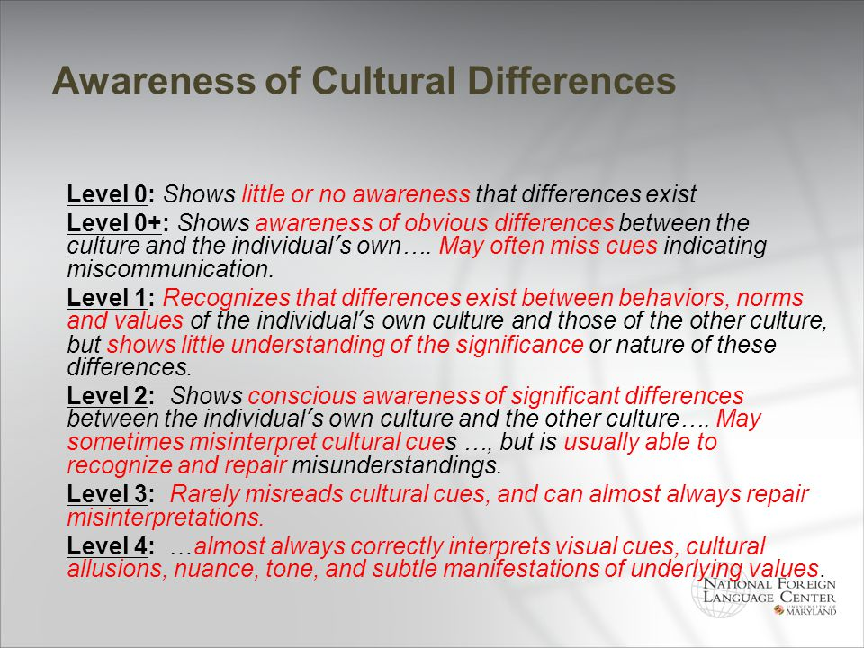 Awareness of Cultural Differences Level 0: Shows little or no awareness that differences exist Level 0+: Shows awareness of obvious differences betwee
