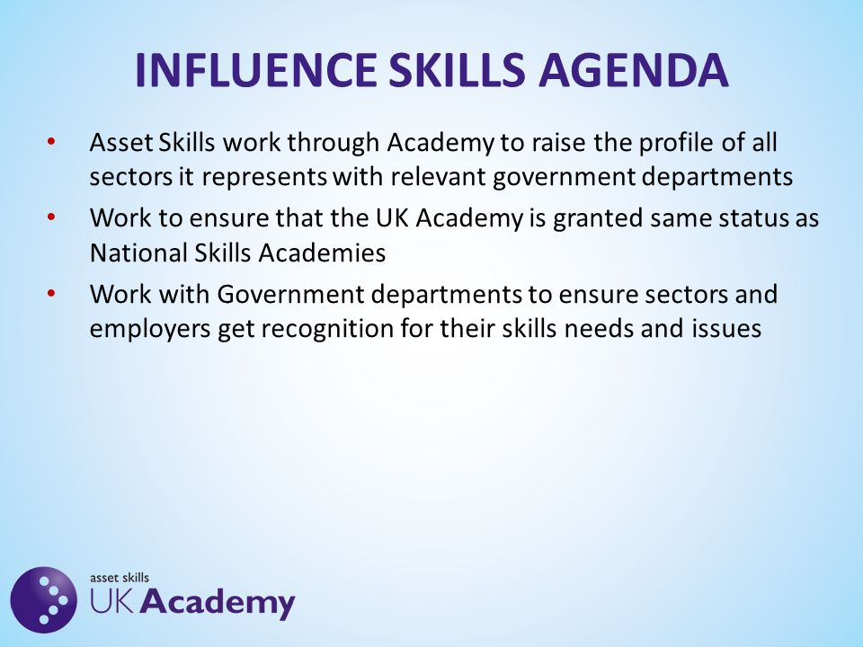 INFLUENCE SKILLS AGENDA Asset Skills work through Academy to raise the profile of all sectors it represents with relevant government departments Work to ensure that the UK Academy is granted same status as National Skills Academies Work with Government departments to ensure sectors and employers get recognition for their skills needs and issues