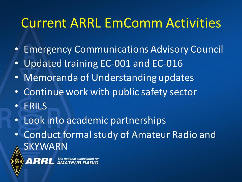 Current ARRL EmComm Activities Emergency Communications Advisory Council Updated training EC-001 and EC-016 Memoranda of Understanding updates Continue work with public safety sector ERILS Look into academic partnerships Conduct formal study of Amateur Radio and SKYWARN