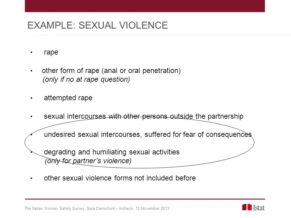 rape other form of rape (anal or oral penetration) (only if no at rape question) attempted rape sexual intercourses with other persons outside the partnership undesired sexual intercourses, suffered for fear of consequences degrading and humiliating sexual activities (only for partners violence) other sexual violence forms not included before The Italian Women Safety Survey, Sara Demofonti – Incheon, 13 November 2013 EXAMPLE: SEXUAL VIOLENCE