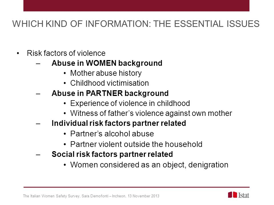 Risk factors of violence –Abuse in WOMEN background Mother abuse history Childhood victimisation –Abuse in PARTNER background Experience of violence i