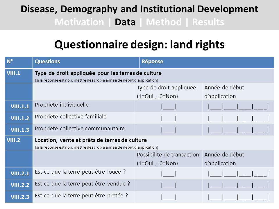 Questionnaire design: land rights Disease, Demography and Institutional Development Motivation | Data | Method | Results N°QuestionsRéponse VIII.1 Type de droit appliquée pour les terres de culture (si la réponse est non, mettre des croix à année de début dapplication) Type de droit appliquée (1=Oui ; 0=Non) Année de début dapplication VIII.1.1 Propriété individuelle |____||____|____|____|____| VIII.1.2 Propriété collective-familiale |____||____|____|____|____| VIII.1.3 Propriété collective-communautaire |____||____|____|____|____| VIII.2 Location, vente et prêts de terres de culture (si la réponse est non, mettre des croix à année de début dapplication) Possibilité de transaction (1=Oui ; 0=Non) Année de début dapplication VIII.2.1 Est-ce que la terre peut-être louée .