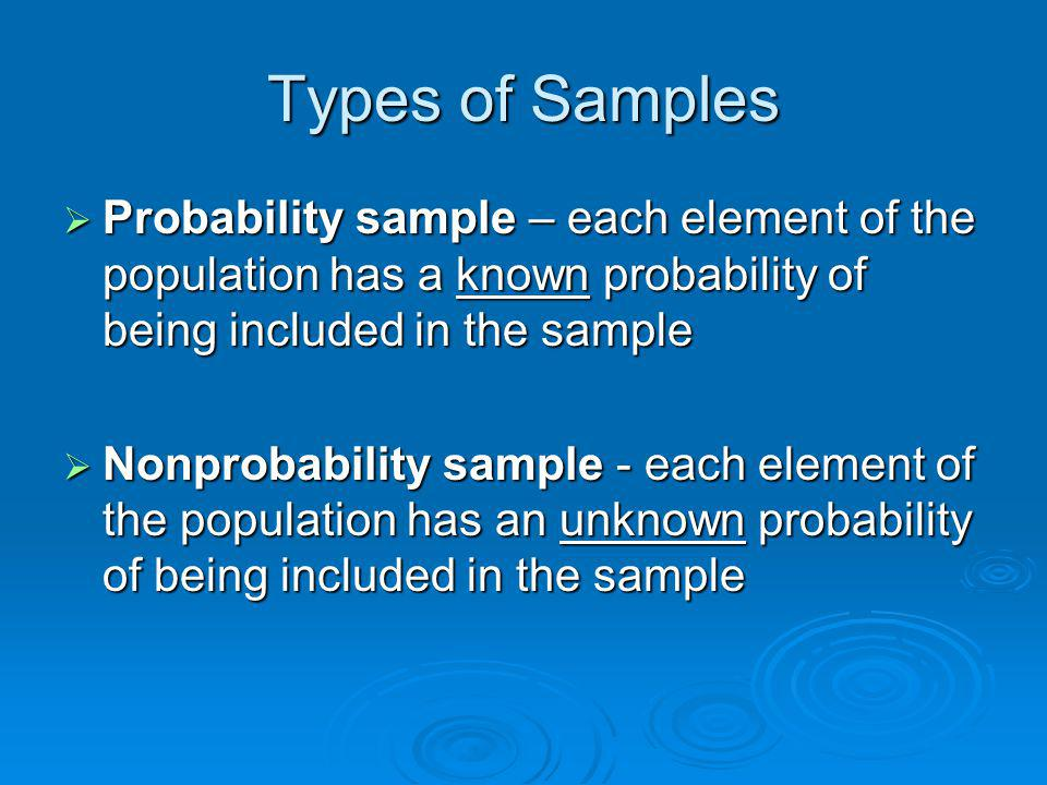 Types of Nonprobability Samples Convenience sample Convenience sample Purposive sample Purposive sample Problem – may not be representative of the population to which we want to generalize Problem – may not be representative of the population to which we want to generalize