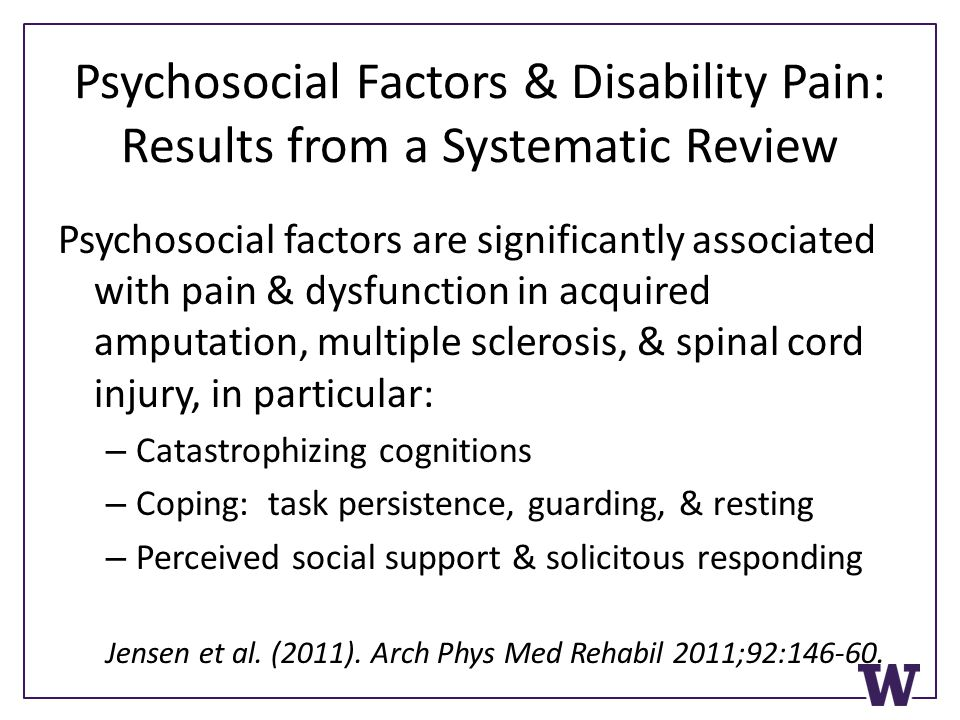 Psychosocial Factors & Disability Pain: Results from a Systematic Review Psychosocial factors are significantly associated with pain & dysfunction in