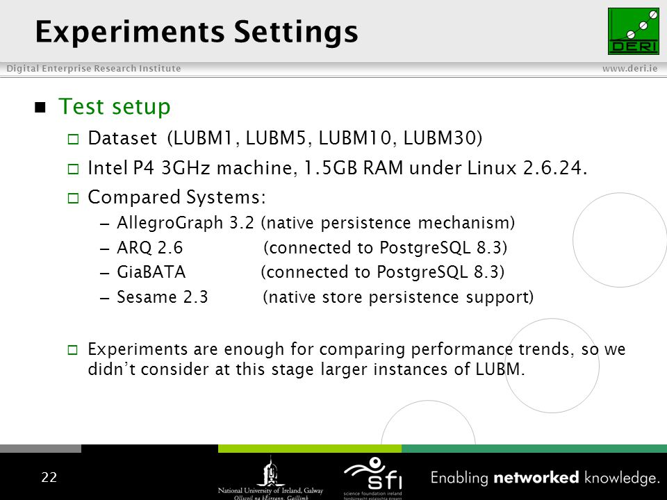 Digital Enterprise Research Institute www.deri.ie LUBM test setup Experiments Settings Test setup Dataset(LUBM1, LUBM5, LUBM10, LUBM30) Intel P4 3GHz