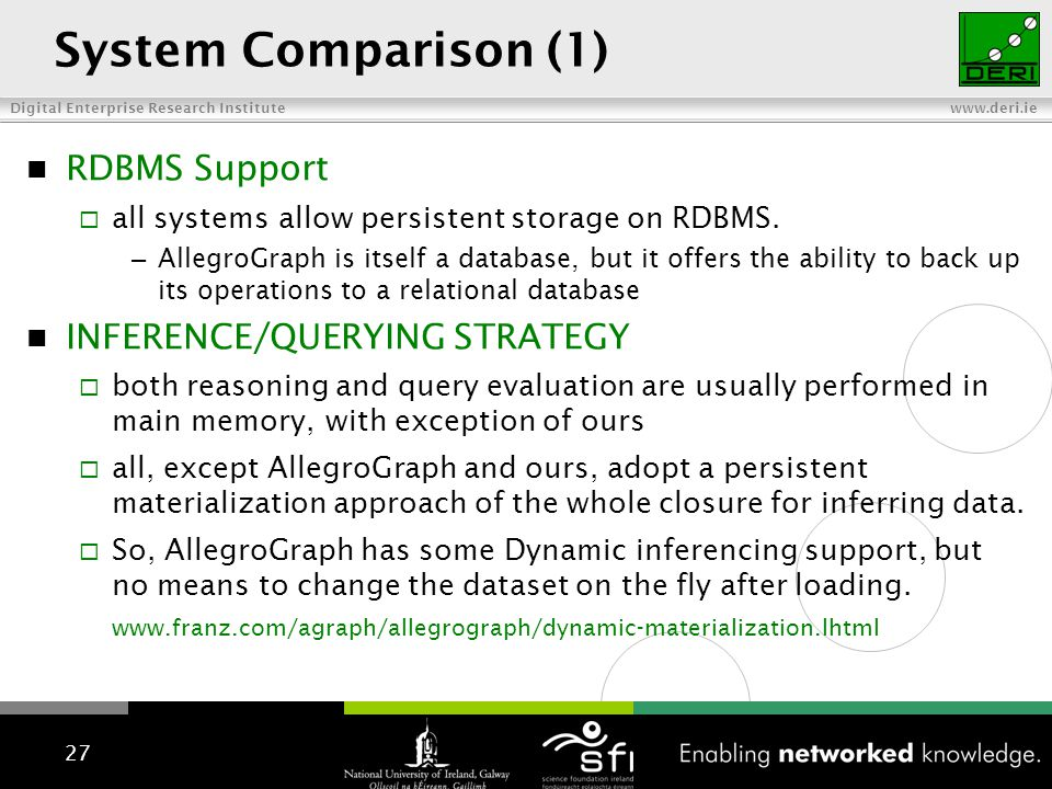 Digital Enterprise Research Institute www.deri.ie System Comparison (1) RDBMS Support all systems allow persistent storage on RDBMS. – AllegroGraph is