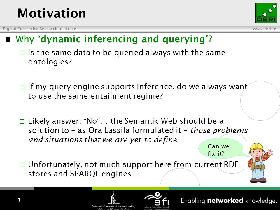 Digital Enterprise Research Institute www.deri.ie Motivation Why dynamic inferencing and querying? Is the same data to be queried always with the same