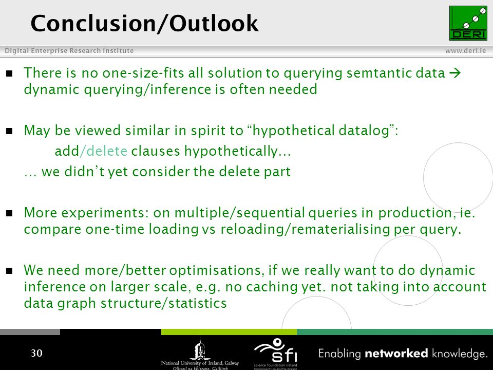 Digital Enterprise Research Institute www.deri.ie Conclusion/Outlook There is no one-size-fits all solution to querying semtantic data dynamic queryin