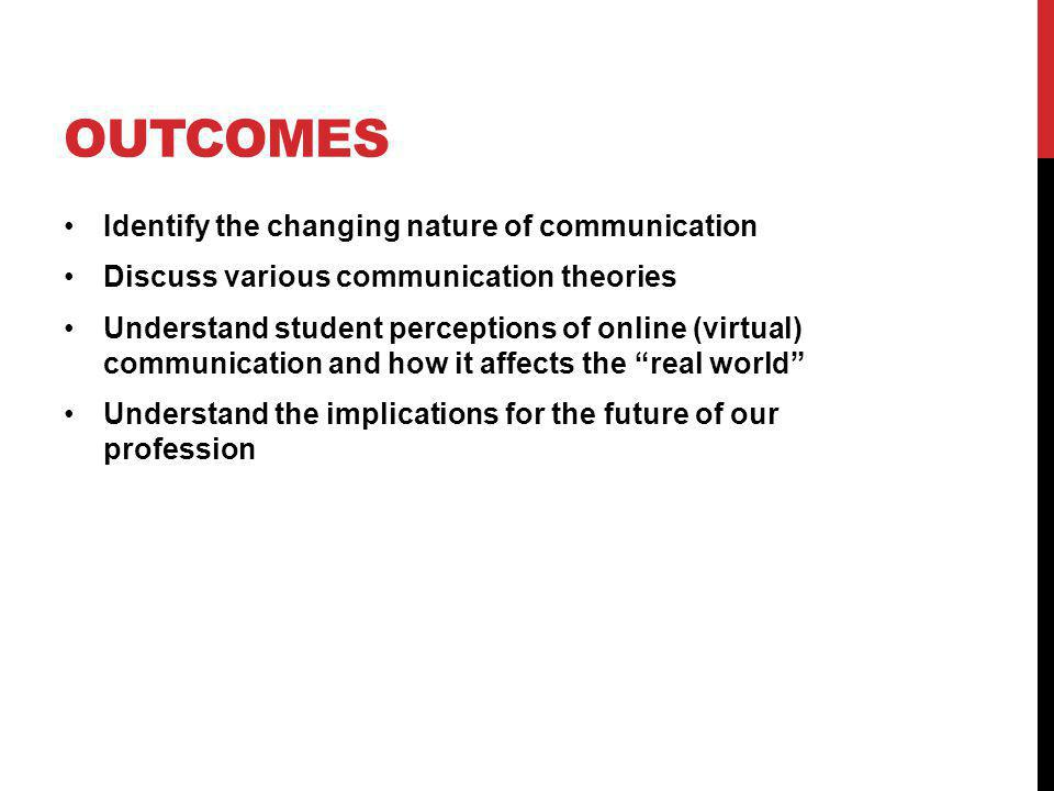 OUTCOMES Identify the changing nature of communication Discuss various communication theories Understand student perceptions of online (virtual) communication and how it affects the real world Understand the implications for the future of our profession