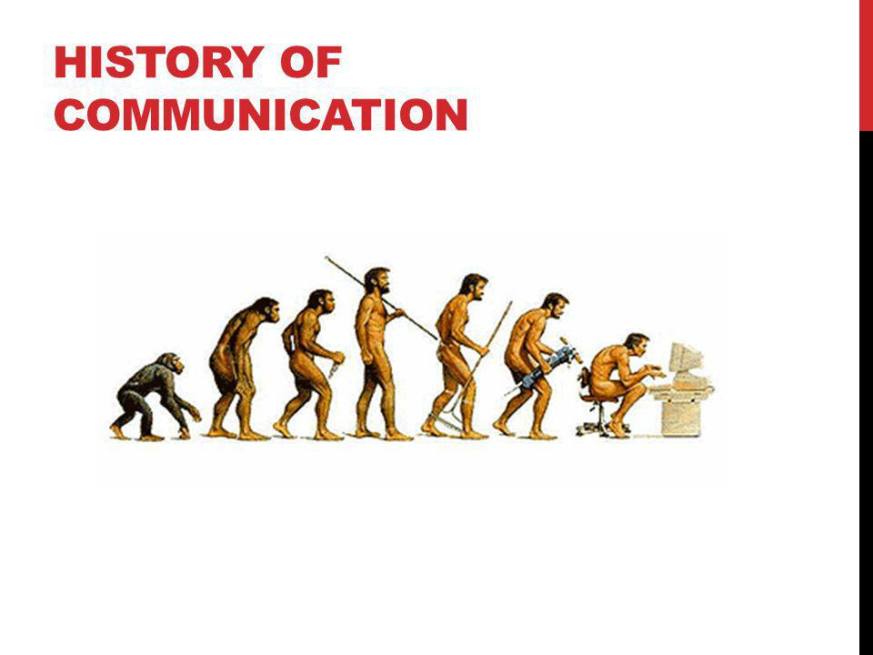 The Word: 1-to-1 Audio Communication - The Same Place At The Same Time The Cave Painting: 1-to-1 Text Communication - Same Place, Different Times The Stone Tablet: 1-to-1 Text Communication - Any Place, Any Time The Printing Press:1-to-Many Text Communication - Any Place, Any Time The Telephone:1-to-1 Audio Communication - Any Place, Same Time Radio & Television:1-to-Many Audio / Visual Communication - Different Place, Same Time The Web and Internet: Many-to-Many Text, Audio, Visual Communication - Any Place, Any Time