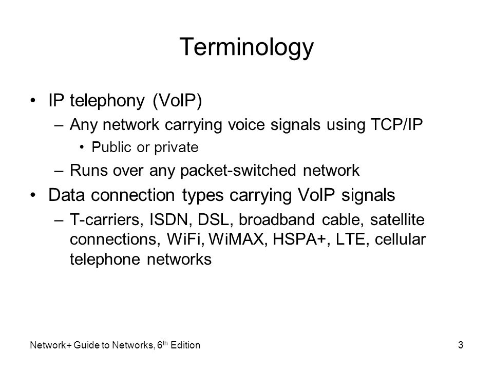 Terminology IP telephony (VoIP) –Any network carrying voice signals using TCP/IP Public or private –Runs over any packet-switched network Data connect