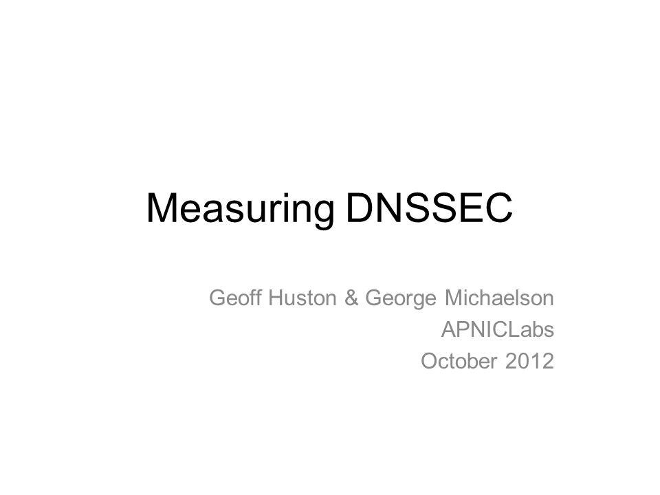 Measuring DNSSEC Geoff Huston & George Michaelson APNICLabs October 2012