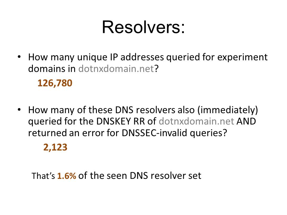 Resolvers: How many unique IP addresses queried for experiment domains in dotnxdomain.net.