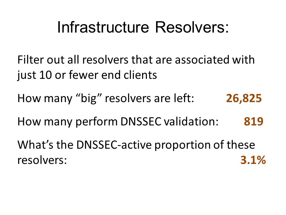 Infrastructure Resolvers: Filter out all resolvers that are associated with just 10 or fewer end clients How many big resolvers are left: 26,825 How m