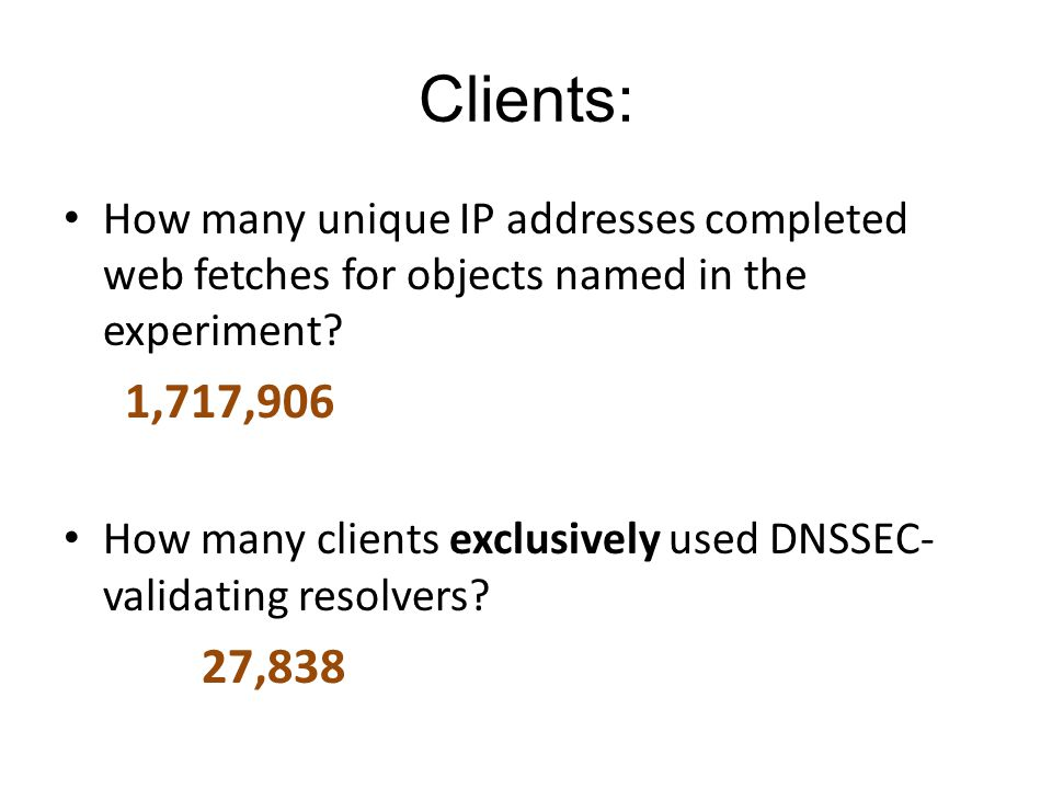 Clients: How many unique IP addresses completed web fetches for objects named in the experiment? 1,717,906 How many clients exclusively used DNSSEC- v