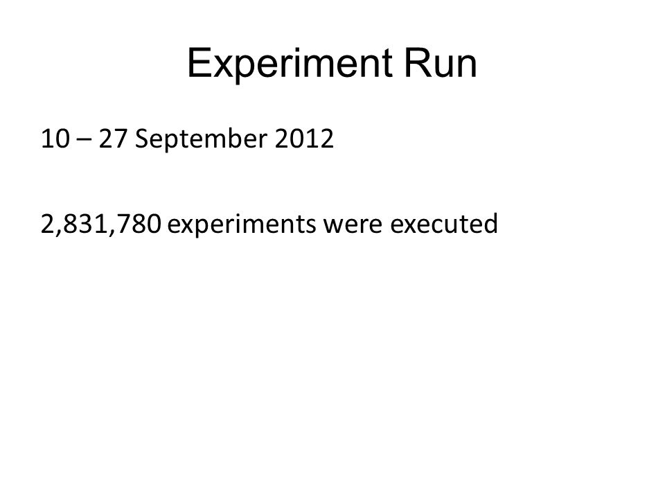 Experiment Run 10 – 27 September 2012 2,831,780 experiments were executed