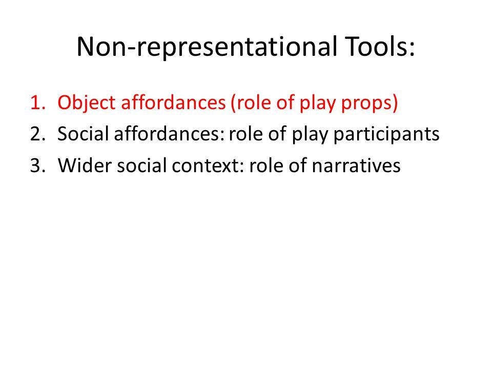 Non-representational Tools: 1.Object affordances (role of play props) 2.Social affordances: role of play participants 3.Wider social context: role of narratives