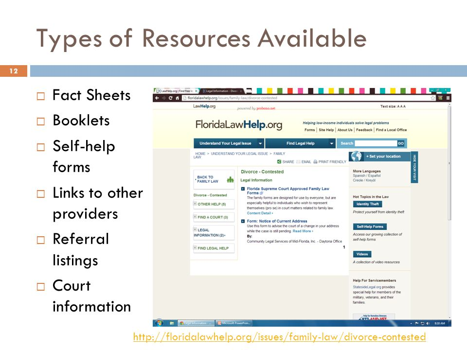 Types of Resources Available Fact Sheets Booklets Self-help forms Links to other providers Referral listings Court information http://floridalawhelp.org/issues/family-law/divorce-contested 12