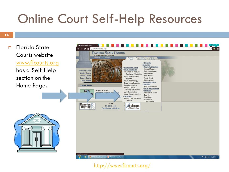 Online Court Self-Help Resources Florida State Courts website www.flcourts.org has a Self-Help section on the Home Page.