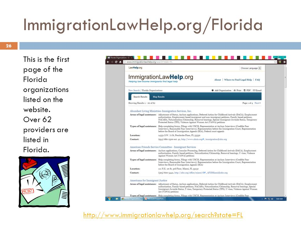 ImmigrationLawHelp.org/Florida This is the first page of the Florida organizations listed on the website.