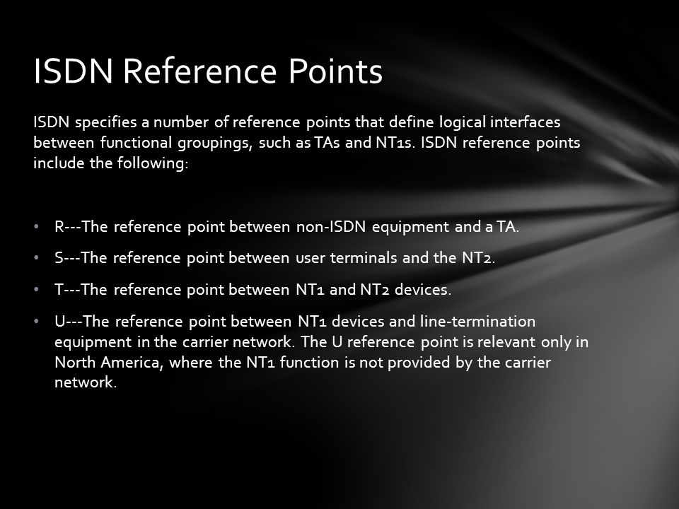 ISDN specifies a number of reference points that define logical interfaces between functional groupings, such as TAs and NT1s. ISDN reference points i